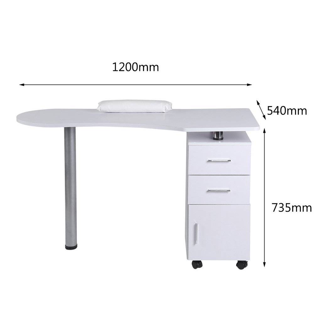 Homgrace Purple Beauty Manicure Nail Table Station Practical Movable Desk Nail Salon Equipment With Wrist Rest Pad 3 Drawers by Homgrace (Image #8)