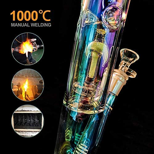 11 inch Pipe Glow in The Dark Hand-Made Glass Crafts Easy to Grip and with Ice Shelf Adam Dual Water Percolator Decorate Glass Bottles at Home
