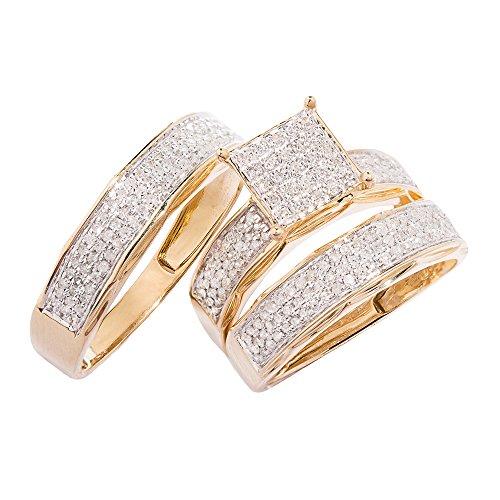 10k Yellow Gold, Square Head Diamond Trio Wedding Ring Set(0.83 ctw, G-H, SI1)