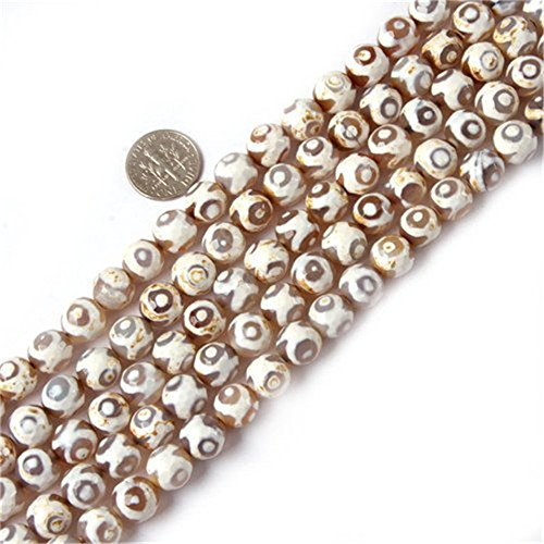 10mm Round Faceted Gemstone With Circle White Fire Agate Beads Strands 15 Inches Jewelry Making Beads (Bead White Agate Fire)