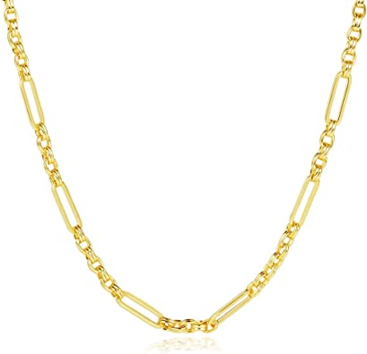 16k Gold Hammered Link Chain wOval Sun Pendant Cubic Zirconia Center Dainty Layering Necklace