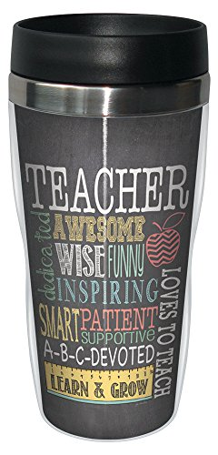 Tree-Free Greetings 78220 Jo Moulton Awesome Teacher Travel Mug, Stainless Lined Coffee Tumbler, 16-Ounce - Gift for Teacher Appreciation Week]()