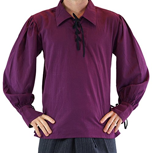 Merchant' Renaissance Festival Costume Shirt, Pirate, Steampunk - Eggplant Purple XL