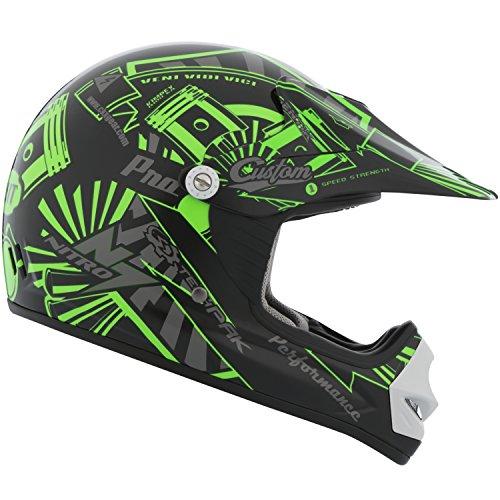 - CKX 183962 TX-218 Pursuit Juniors/ Kids/ Youth Full Moto Helmet, Green/Black, Small