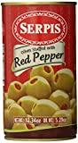 Serpis Olives Stuffed with Red Pepper, 12.34 Ounce (Pack of 6)