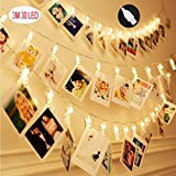 Bestglobal LED Photo String Lights 3M 30LED Waterproof Ip-54 Lights Strip Clamp, No Battery with Power Supply USB Port Charger, Clear Creative Decoration for Living Room, Bar, Garden (3.3walts)
