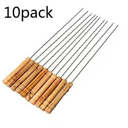 BBQ Kebab Skewers Stainless Steel Barbecue Forks with wooden handle Set of 10 LanTu