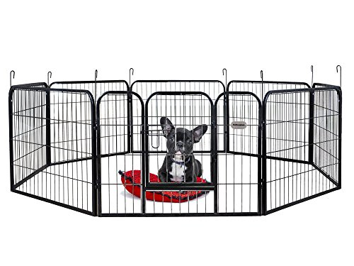 PetPremium Dog Pen Metal Fence Gate Portable Outdoor RV Play Yard | Heavy Duty Outside Pet Large Playpen Exercise | Indoor Puppy Kennel Cage Crate Enclosures | 24' Height 8 Panel