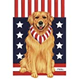Cheap Best of Breed Golden Retriever Patriotic Breed Garden Flag