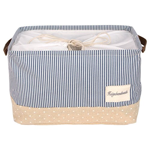 DOKEHOM 17-Inches Large Storage Basket (Available 15 and 17 InchesWidth), Drawstring Square Cotton Linen Collapsible Toy Basket (Navy Blue, L)