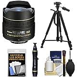 Nikon 10.5mm f/2.8G ED DX AF Fisheye-Nikkor Lens with Tripod + Kit for D3100, D3200, D3300, D5100, D5200, D5300, D7000, D7100 DSLR Cameras