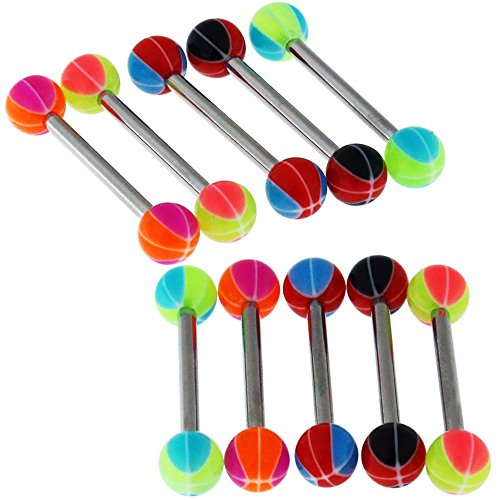 (Straight Barbells 14Gx3/4 (1.6x19MM) 316L Surgical Steel with 6MM UV 2 Color Basketball Ball Tongue Piercing Rings - 10 Pieces Assorted Color as Show)