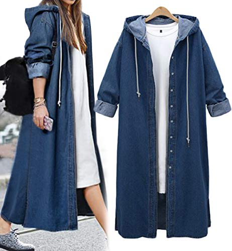 Innifer Women's Long Sleeve Plus Size Long Jean Jacket Denim Windbreaker Outwear Coat with Hood