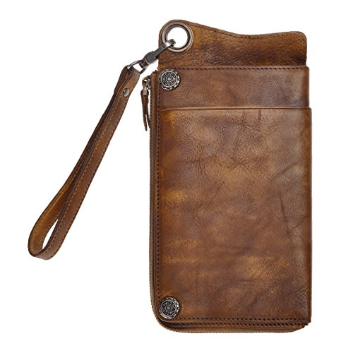 ZLYC Vintage Handmade Dip-dye Leather Wallet Card Holder Long Clutch with Detachable Wristlet (Brown)