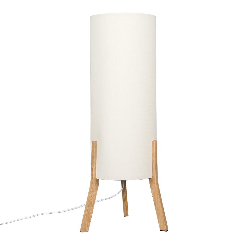 Modern Wooden Tripod Midi Floor Lamp with a Cream Cylinder Fabric Shade MiniSun