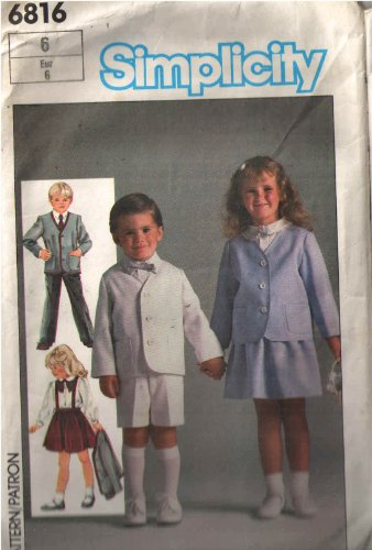 Simplicity 6817 Ring Bearer Style Suit Pattern or with Skirt Too, Girls Boys Shorts Skirt Jacket or Pants Optional Suspenders and Braid Trim or Topstitching Detail.