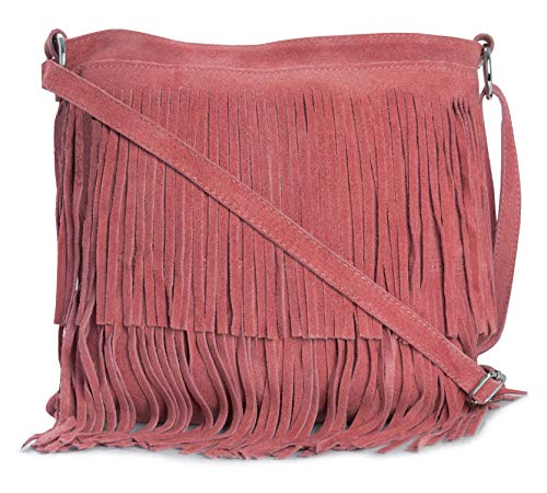 LIATALIA Womens Fringe Handbag - Real Italian Suede Leather - Tassle Effect Shoulder Bag - (Large Size) - ASHLEY [Coral]