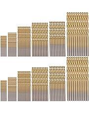 zhoushengmeizhuang Titanium Twist Drill Bits Set of 60pcs Metric Jobber Twist Drill Bits High Speed Steel Hss Drill Bits 1mm-3.5mm Straight Shank for Wood Plastic Soft Metal Sheet