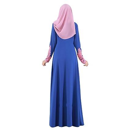 Highdas Vestido largo de la manga de Turquía Mujer larga Abaya Ropa islámica Mujer musulmanes ropa de las señoras de las mujeres Kaftan largo del cordón: ...