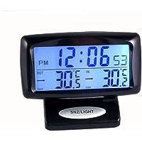 Temporizador 2 en 1 para coche, pantalla digital, monitor de tiempo interior y trasero, termómetro de doble temperatura…
