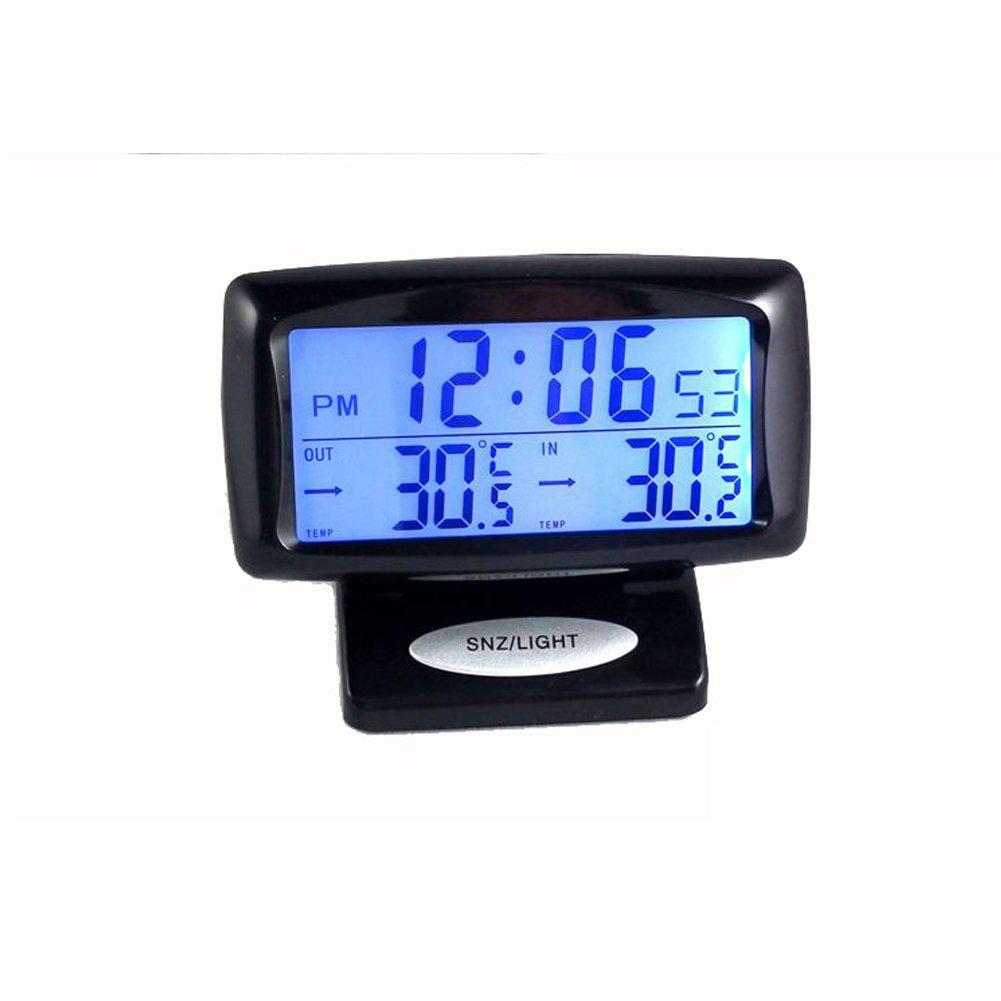 LNIMIKIY Pantalla Digital Herramienta de medici/ón de Doble Temperatura Interior y Exterior con retroiluminaci/ón Term/ómetro electr/ónico 2 en 1 para Coche Negro