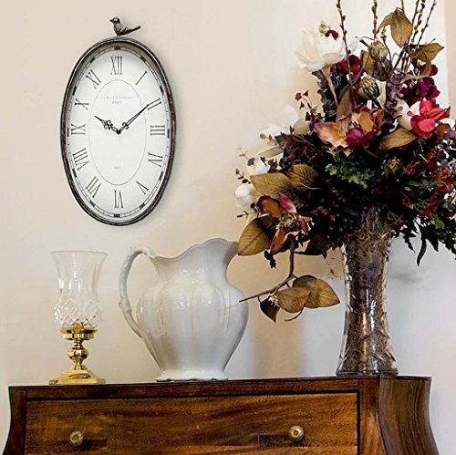 Oval Antique Finish (Roman Numeral Display Metal Finish Home Decor Antique Oval Clock (Dimensions 19.25x2.25x10.75))