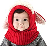 Baby Girls Boys Winter Hat Scarf Earflap Hood Scarves Skull Caps, Red One Size