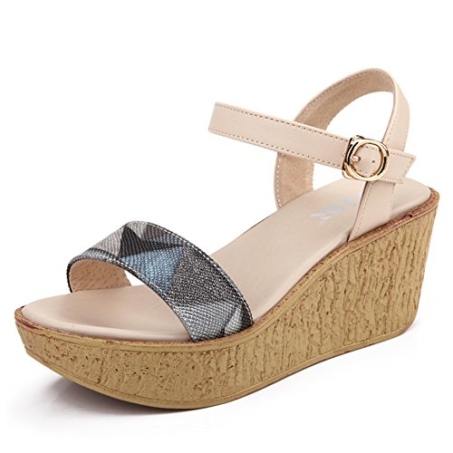 D'été chaussures Hauts Femmes colour En Compensées De Thick forme B Sandales soled shoes Plate Matching Étudiant À Talons wxPnwq68
