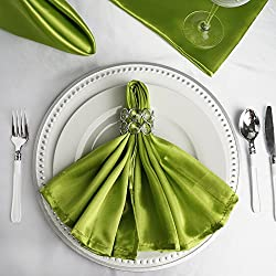 BalsaCircle 10 pcs 20-Inch Sage Green Satin Dinner Napkins - for Wedding Party Reception Events Restaurant Kitchen Home