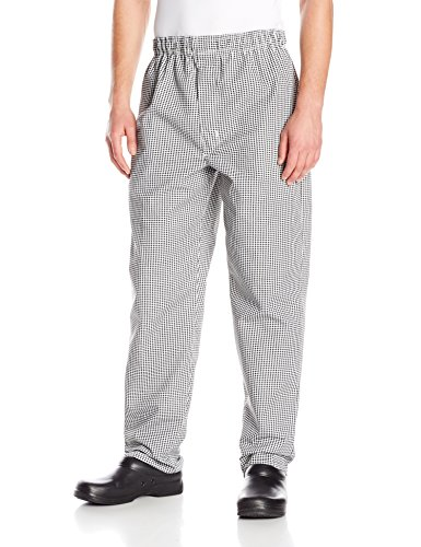Chef Designs Red Kap Men's Baggy Chef Pant with Zipper Fly, Black/White Check, Small by Chef Designs