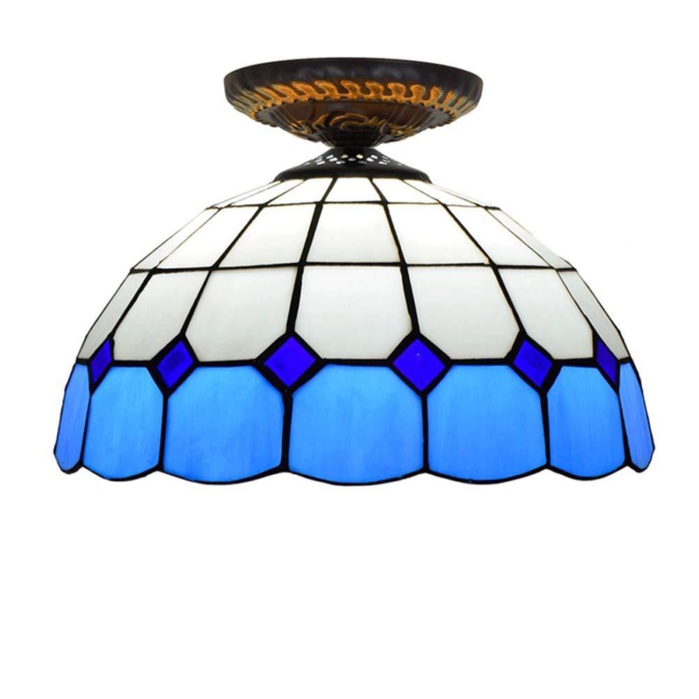 ティファニースタイルシーリングライト、12インチブルーガラスシーリングランプ、リビングルームの寝室の通路のためのヨーロッパ地中海のシーリ B07T3DLW5C