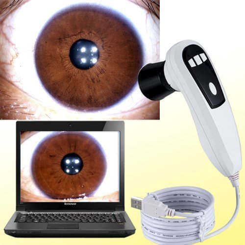 Angel Kiss New 5.0MP 5 Mega Pixels Iriscope 4 LED / 2 LED Alternation Iris Analyzer 30X lens Iridology Camera with Pro Iris Analysis Software