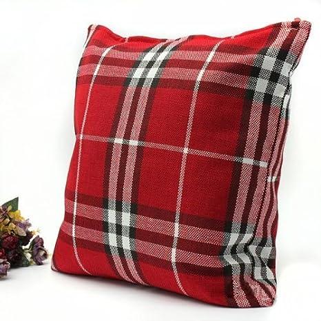 Amazon.com: Home decorativo Square tartán Throw almohada ...