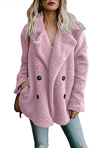 Womens Casual Cozy Jacket Outerwear Warm Fluffy Open Front Button Down Solid Oversized Loose Sherpa Coats (Fur Front Button Jacket)