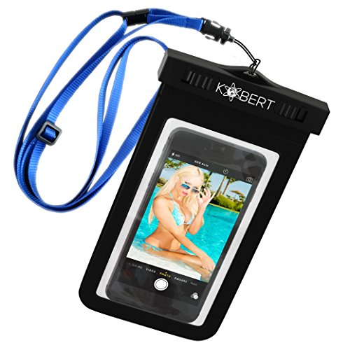 Kobert Waterproof Cell Phone Case (Deluxe) - Dry Bag Pouch for Apple iPhone 8, 8 Plus, X, 6s, 6s Plus Samsung Galaxy s7, s7 Edge, s6, s6 Edge, Any Phone up to 6 Inches - Adjustable Lanyard from Kobert