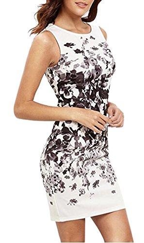 Hikong Vestido Corto de Mujer Verano Cuello Redondo Sin Mangas Floral Traje Delgado Tubo A-line de Fiesta Cóctel Elegante blanco