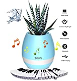 Music Plant Pot, Bluetooth Flower Pot Speaker, Colourful Night Light Pots, Birthday or Festival Gift Garden Pot, Charge by USB (Plants Not Included)
