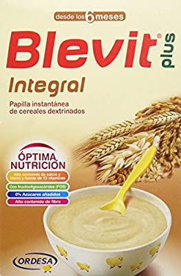Blevit Plus Integral 300 gr. Cereales para bebé. A partir de los 6 meses, contiene gluten.: Amazon.es: Alimentación y bebidas