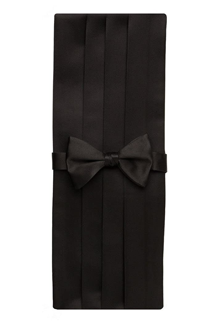 David Donahue Mens Satin Silk Pre-tied Bow Tie Cummerbund Set Black CP100001