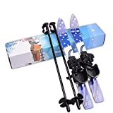 FidgetFidget 65cm ABS Plastic Snow Skis and Poles with Bindings for Kids Beginner Ages 5-10
