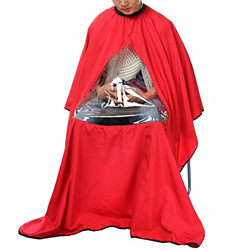 Blazers Proforms Costumes - Red Fashion Salon Hairdresser Haircut Cape Window Hairdresser Barber Gown with View Window for Enjoy Smart Phone, Iphone, Samsung, or Take Note and (Barber Costumes)