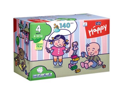 Bella Baby Happy Windeln, Big Pack, Größe 4 (Maxi), 8-18 kg, (1 x 140 Windeln)