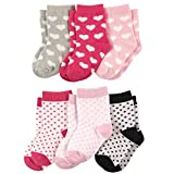 Luvable Friends Baby Crew Socks 6-Pack, Hearts/Dots, 12-24 Months