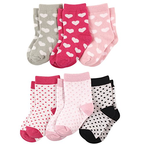 Luvable Friends 6-Pack Baby Colored Crew Socks, Hearts, 12-24 Months