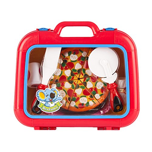 Kids Pizza Play Set, Pizza Suitcase, Pizza Toy Box with 2 plates, 2 forks a Pizza Pan, a spatula, 2 Salt/ Spice Shakers and Serving Spoons and a 6 slice Toy Pizza (Kid Friendly Halloween Baking)