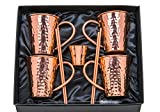 100% Pure Copper Mugs Moscow Mule, Set of 4, Authentic Hammered Handmade 16oz Cups w/ Welded Copper Handles | Gift Box Includes Copper Shot Glass + 4 Straws + Straw Cleaner + Recipe Book