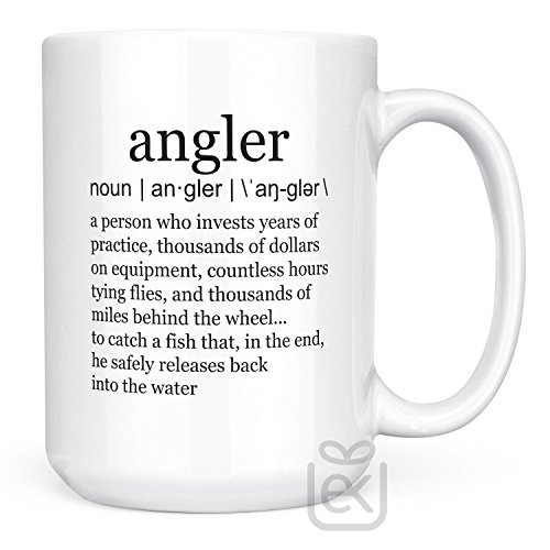 Fishing Mugs for Men Funny Fishing Gifts for Dad, Boys, Women or Grandpa | Angler Definition Tea Cup | White Ceramic - Usps Hours Priority Delivery Mail