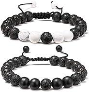 Lava Rock Bracelet - 8mm Stone Tiger Eye Bracelet Lava Rock Bracelet , Stress Relief Yoga Beads Adjustable Bra