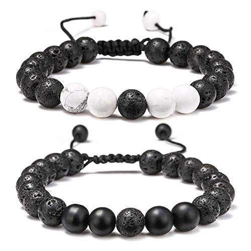 Lava Rock Bracelet - 8mm Lava Rock Bead White Turquoise and Black Matte Agate Anxiety Bracelet, Men Women Stress Relief Yoga Beads Adjustable Aromatherapy Essential Oil Diffuser Healing Bracelets