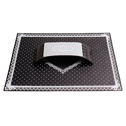 Gosear Nail Table Mat Silicone Table Mat Pad and Hand Pillow Manicure Nail Tools Beauty Salon Equipment Tool Set Kit Home Salon Portable Foldable Washable Point Pattern Lace Black
